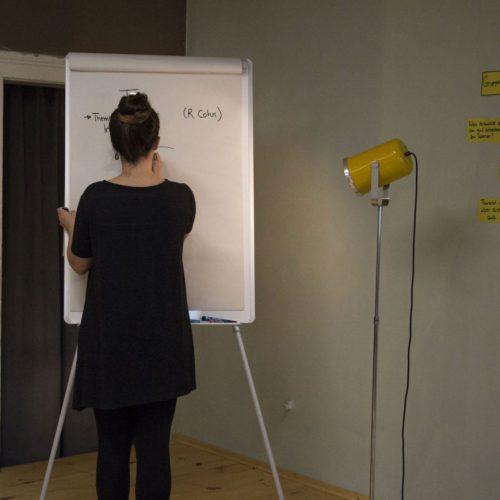 Eine Frau schreibt auf das Whiteboard